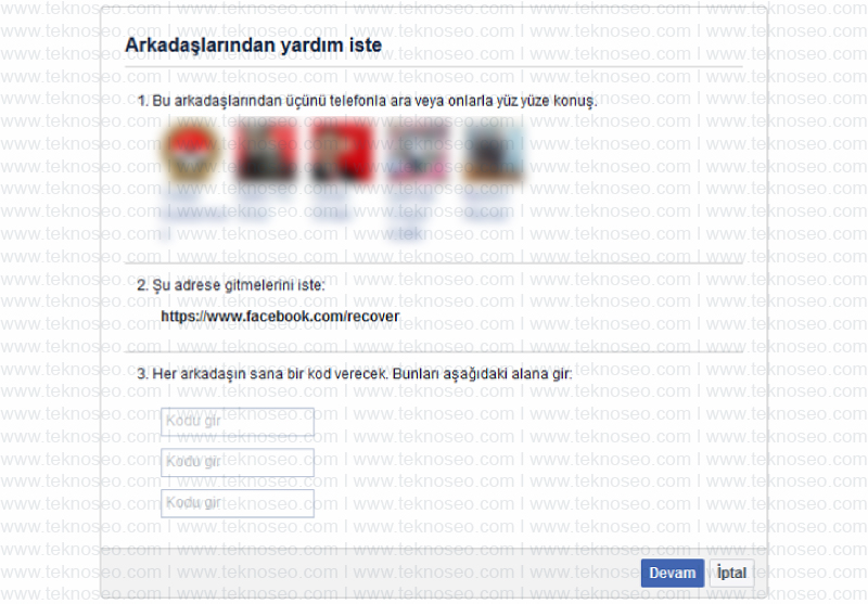 facebook şifremi unuttum,facebook kimlik ibrazı,facebook güvenilir kişilerden yardım isteme,facebook sorun bildir,facebook kod gelmiyor sorunu