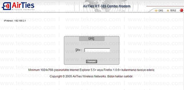 airties rt-103 arayüz giriş şifresi,airties rt-103 modem kurulumu,airties rt-103sıfırlama,airties rt-103 internet ayarları