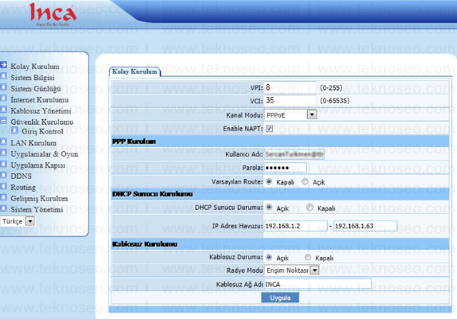 inca im-214nx arayüz giriş şifresi,inca im-214nx modem kurulumu,inca im-214nx kablosuz ayarları,inca im-214nx sıfırlama