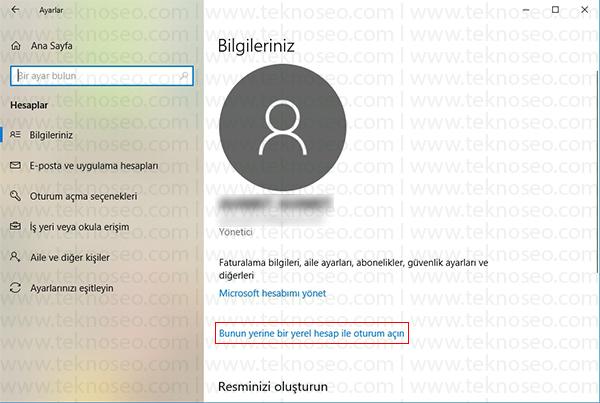 windows 10 yerel hesaba çevir,windows 10 microsoft hesabı kaldırma,windows 10 yerel hesap açma,windows 10 microsoft hesabından çıkış yapma