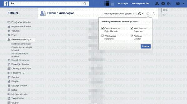 facebook,arkadaş ekleme gizliliği,yeni arkadaş bildirimi gizleme,yeni arkadaş raporları,arkadaş oldu bildirimini gizleme